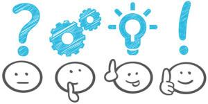 Smileys mit Fragezeichen, Glühbirne und Ausrufezeichen über den Köpfen