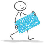 Strichmännchen mit Briefumschlag in den Händen